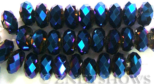 Tiaria Glass Crystal 108-Metallic Indigo Blue rondelle Beads <b>14x10mm</b> faceted 5mm large hole    per   <b> 10-pc-str</b>