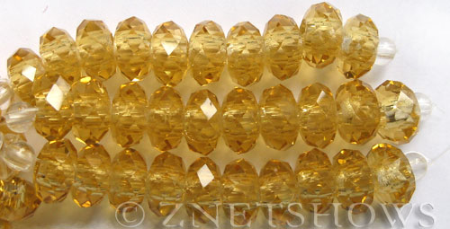 Tiaria Glass Crystal 11-Gold Champagne rondelle Beads <b>14x10mm</b> faceted 5mm large hole    per   <b> 10-pc-str</b>