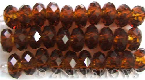 Tiaria Glass Crystal 17-Amber rondelle Beads <b>14x10mm</b> faceted 5mm large hole    per   <b> 10-pc-str</b>