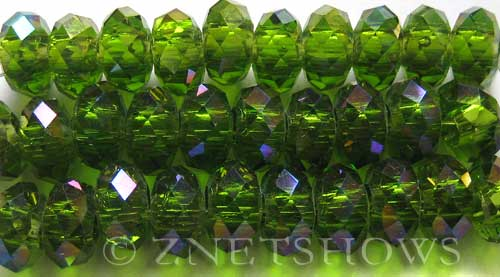 Tiaria Glass Crystal 22AB-Olive AB rondelle Beads <b>14x10mm</b> faceted 5mm large hole    per   <b> 10-pc-str</b>