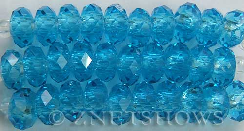Tiaria Glass Crystal 28-Turquoise Bay rondelle Beads <b>14x10mm</b> faceted 5mm large hole    per   <b> 10-pc-str</b>