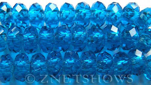 Tiaria Glass Crystal 30-Pacific Blue rondelle Beads <b>14x10mm</b> faceted 5mm large hole    per   <b> 10-pc-str</b>