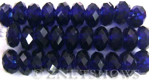 Tiaria Glass Crystal 33-Royal Blue rondelle Beads <b>14x10mm</b> faceted 5mm large hole    per   <b> 10-pc-str</b>