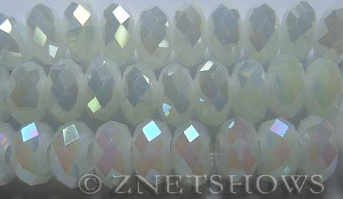Tiaria Glass Crystal 42AB-Opaque White AB rondelle Beads <b>14x10mm</b> faceted 5mm large hole    per   <b> 10-pc-str</b>