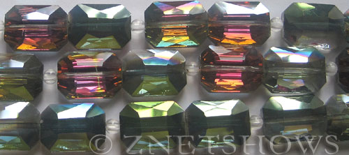 Tiaria Glass Crystal 120-Sahara Green rectangle Beads <b>18x13mm</b> faceted     per   <b> 8-in-str (12-pc-str)</b>