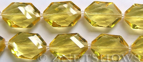 Tiaria Glass Crystal 10-Sunglow hexagon Beads <b>20x18mm</b> faceted     per   <b> 8-in-str (8-pc-str)</b>