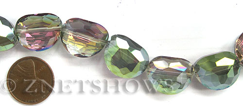 Tiaria Glass Crystal 120-Sahara Green kidney Beads <b>18x14mm</b> faceted     per   <b> 8-in-str  (11-pc-str)</b>
