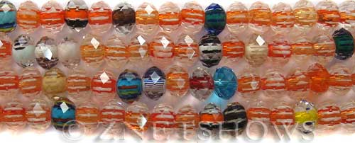Tiaria Glass Crystal 01-Crystal rondelle Beads <b>8x6mm</b> faceted cane style    per   <b> 8-in-str (36-pc-str)</b>