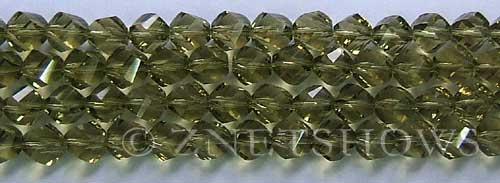 Tiaria Glass Crystal light olive color twist Beads <b>8mm</b> faceted   per   <b> 8-in-str (27-pc-str)</b>