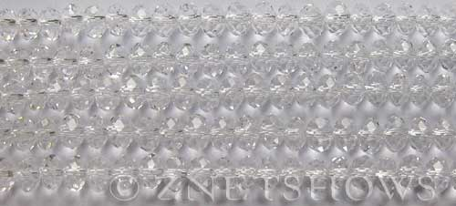 Tiaria Glass Crystal 01-Crystal Rondelle Beads <b>6x4mm</b> faceted     per   <b> 100-pc-str</b>