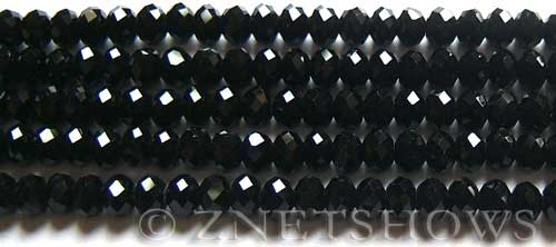 Tiaria Glass Crystal 02-Jet Black Rondelle Beads <b>6x4mm</b> faceted     per   <b> 100-pc-str</b>
