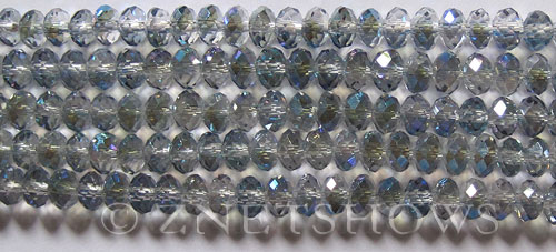 Tiaria Glass Crystal 123-Meridian Blue rondelle Beads <b>6x4mm</b> faceted     per   <b> 10-str-hank (50-pc-str)</b>