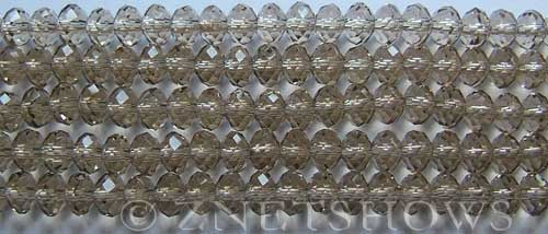 Tiaria Glass Crystal 13-Light Smoky Topaz rondelle Beads <b>6x4mm</b> faceted     per   <b> 10-str-hank (50-pc-str)</b>