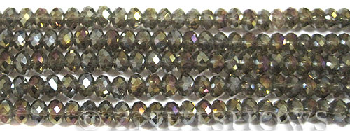 Tiaria Glass Crystal 15AB-Smoky Quartz  AB rondelle Beads <b>6x4mm</b> faceted     per   <b> 10-str-hank  (50-pc-str)</b>