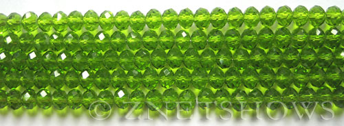 Tiaria Glass Crystal 20-Light Olive rondelle Beads <b>6x4mm</b> faceted     per   <b> 10-str-hank (50-pc-str)</b>
