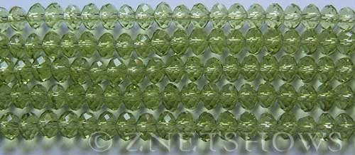 Tiaria Glass Crystal 22-Olive rondelle Beads <b>6x4mm</b> faceted     per   <b> 10-str-hank (50-pc-str)</b>