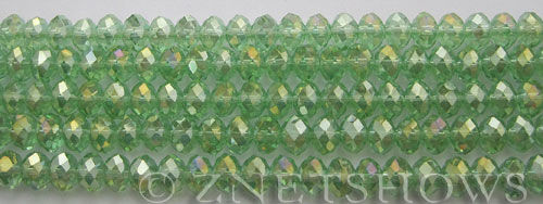 Tiaria Glass Crystal 23AB-Peridot AB rondelle Beads <b>6x4mm</b> faceted     per   <b> 10-str-hank (50-pc-str)</b>
