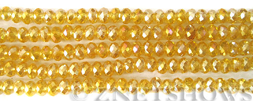 Tiaria Glass Crystal 84AB-Lemon AB rondelle Beads <b>6x4mm</b> faceted     per   <b> 10-str-hank  (50-pc-str)</b>
