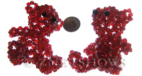 Tiaria Glass Crystal 05-Cherry Red braided style Beads <b>60x55mm</b>  teddy bear made of 4mm bicones    per   <b> piece</b>