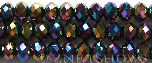 Tiaria Glass Crystal 106-Metallic Peacock rondelle Beads <b>12x8mm</b> faceted     per   <b> 5-str-hank (24-pc-str)</b>