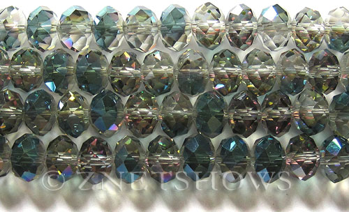 Tiaria Glass Crystal 120-Sahara Green rondelle Beads <b>12x8mm</b> faceted     per   <b> 5-str-hank (24-pc-str)</b>