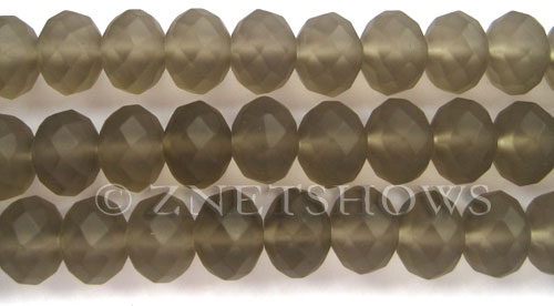 Tiaria Glass Crystal 15-Smoky Quartz  rondelle Beads <b>14x10mm</b> faceted Matte    per   <b> 8-in-str</b>