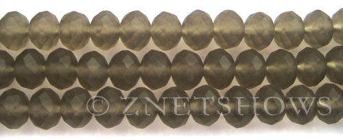 Tiaria Glass Crystal 15-Smoky Quartz  rondelle Beads <b>10x8mm</b> faceted Matte    per   <b> 8-in-str</b>