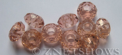 Tiaria Glass Crystal 07-Sweet Peach rondelle Beads <b>14x8mm</b> faceted 5mm large hole    per   <b> 10-pc-bag</b>