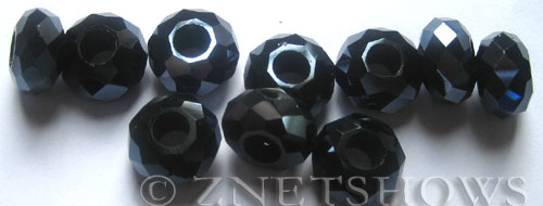 Tiaria Glass Crystal 100-Hematite rondelle Beads <b>14x8mm</b> faceted 5mm large hole    per   <b> 10-pc-bag</b>