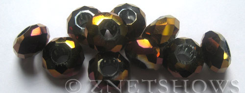 Tiaria Glass Crystal 107-Metallic Purple rondelle Beads <b>14x8mm</b> faceted 5mm large hole    per   <b> 10-pc-bag</b>
