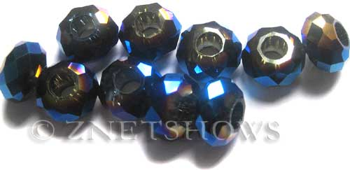 Tiaria Glass Crystal 108-Metallic Indigo Blue rondelle Beads <b>14x8mm</b> faceted 5mm large hole    per   <b> 10-pc-bag</b>