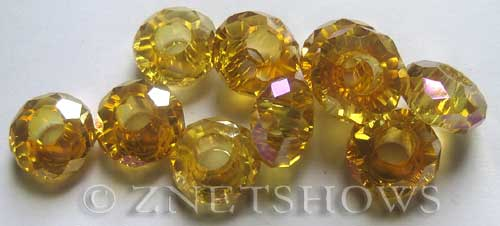 Tiaria Glass Crystal 10AB-Sunglow AB rondelle Beads <b>14x8mm</b> faceted 5mm large hole    per   <b> 10-pc-bag</b>
