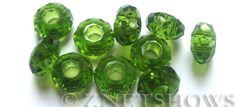 Tiaria Glass Crystal 22-Olive rondelle Beads <b>14x8mm</b> faceted 5mm large hole    per   <b> 10-pc-bag</b>