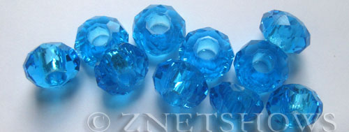 Tiaria Glass Crystal 30-Pacific Blue rondelle Beads <b>14x8mm</b> faceted 5mm large hole    per   <b> 10-pc-bag</b>