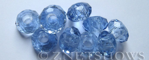 Tiaria Glass Crystal 31-Light Sapphire rondelle Beads <b>14x8mm</b> faceted 5mm large hole    per   <b> 10-pc-bag</b>