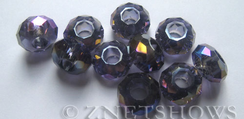 Tiaria Glass Crystal 35AB-Purple AB rondelle Beads <b>14x8mm</b> faceted 5mm large hole    per   <b> 10-pc-bag</b>