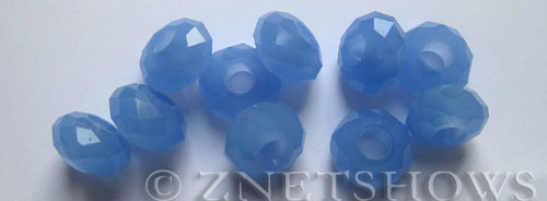 Tiaria Glass Crystal 47-Opaque Sky Blue rondelle Beads <b>14x8mm</b> faceted 5mm large hole    per   <b> 10-pc-bag</b>