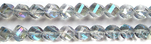 Tiaria Glass Crystal 123-Meridian Blue twist Beads <b>10mm</b> faceted     per   <b> 20-pc-str</b>