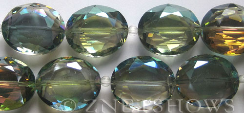 Tiaria Glass Crystal 120-Sahara Green oval Beads <b>25x18mm</b> faceted     per   <b> 8-in-str (8-pc-str)</b>