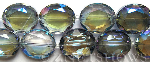 Tiaria Glass Crystal 123-Meridian Blue oval Beads <b>25x18mm</b> faceted     per   <b> 8-in-str (8-pc-str)</b>