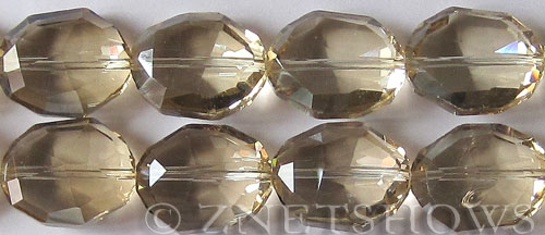 Tiaria Glass Crystal 69-Tan Color oval Pendants <b> 25x20x11mm </b> faceted     per   <b> 7-in-str (7-pc-str)</b>