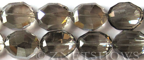 Tiaria Glass Crystal 70-Dark Tan Color oval Pendants <b> 25x20x11mm </b> faceted     per   <b> 7-in-str (7-pc-str)</b>