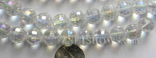 Tiaria Glass Crystal 01AB-Crystal AB round Beads <b>12mm</b> faceted     per   <b> 12-pc-str</b>