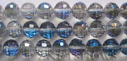 Tiaria Glass Crystal 123-Meridian Blue round Beads <b>12mm</b> faceted     per   <b> 8-in-strand (20-pc-str)</b>