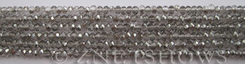 Tiaria Glass Crystal 102-Metallic Halftone Silver rondelle Beads <b>3x2mm</b> faceted     per   <b> 100-pc-str</b>