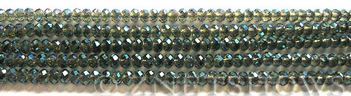 Tiaria Glass Crystal 122-Veridian Green rondelle Beads <b>3x2mm</b> faceted     per   <b> 100-pc-str</b>