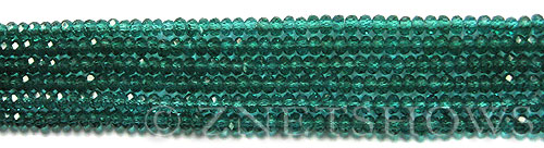 Tiaria Glass Crystal 26-Green Zircon rondelle Beads <b>3x2mm</b> faceted     per   <b> 100-pc-str</b>