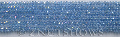 Tiaria Glass Crystal 31AB-Light Sapphire AB rondelle Beads <b>3x2mm</b> faceted     per   <b> 100-pc-str</b>