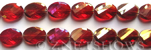 Tiaria Glass Crystal 05AB-Cherry Red AB oval Beads <b>18x13mm</b> faceted     per   <b> 8-in-str (11-pc-str)</b>