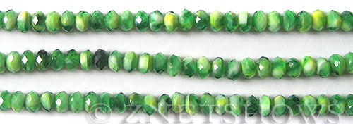 Tiaria Glass Crystal Mellifori Style Green Color rondelle Beads <b>6x4mm</b> faceted   per   <b> 8-in-str</b>